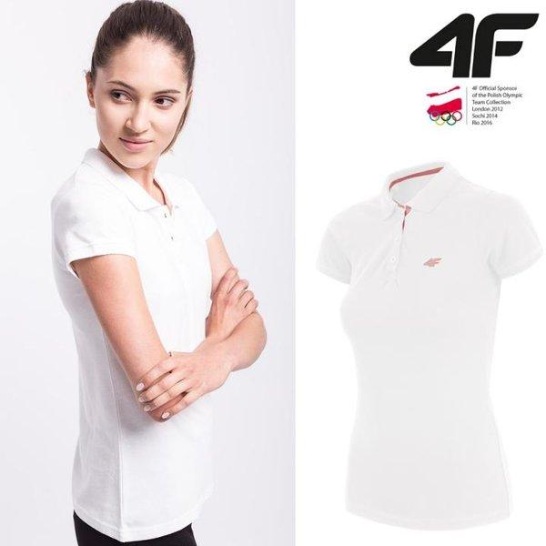 4F - Polo - Damen Poloshirt - weiß