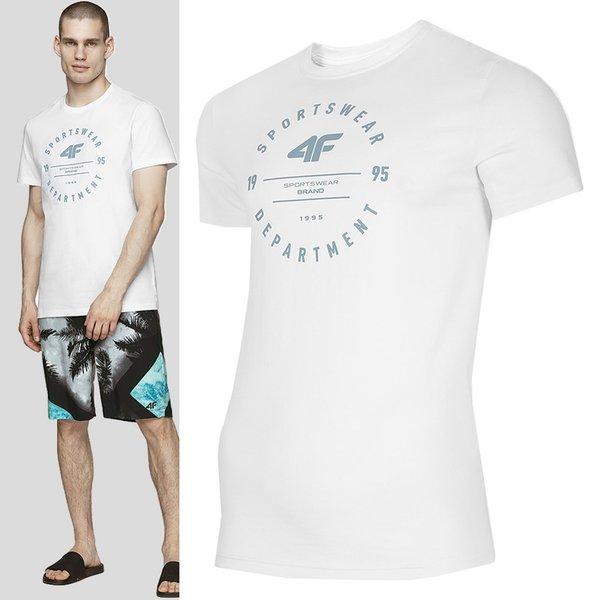 4F - Sportswear- Herren T-Shirt Baumwolle - weiß