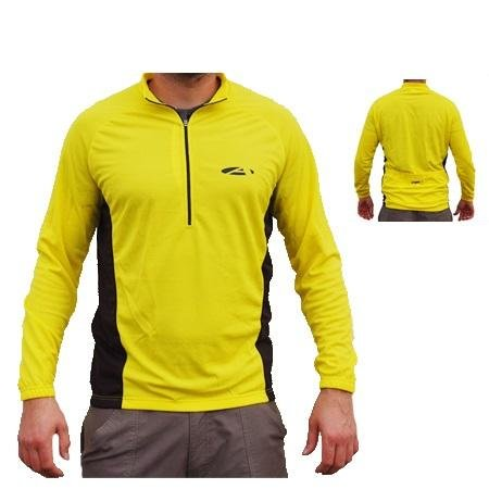 Asender Herren Sport Longshirt Zip Überzieher - gelb - M