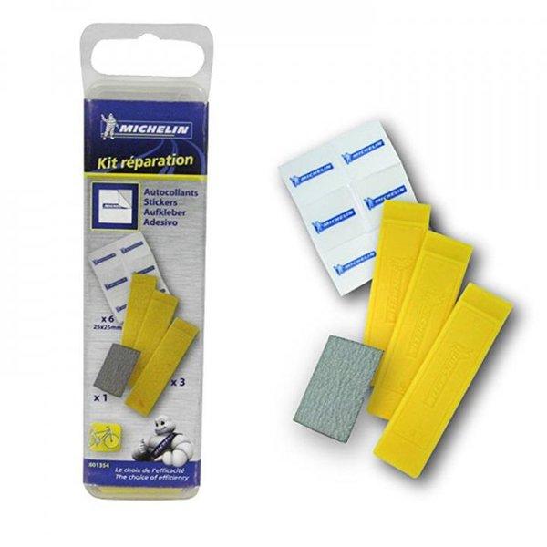 Michelin Erwachsene Reparaturkit 3 Reifenmontierhebeln 6 Reparaturflicken und Schmirgelpapier Gelb