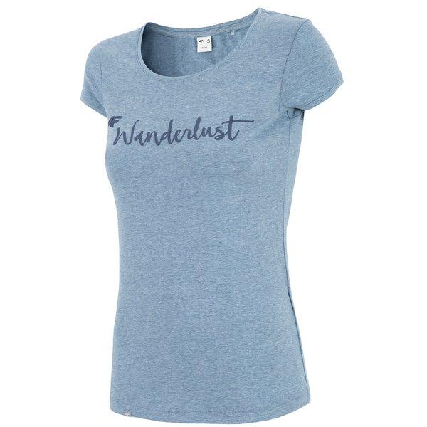Wanderlust - Damen 4F T-Shirt Baumwollshirt - blau