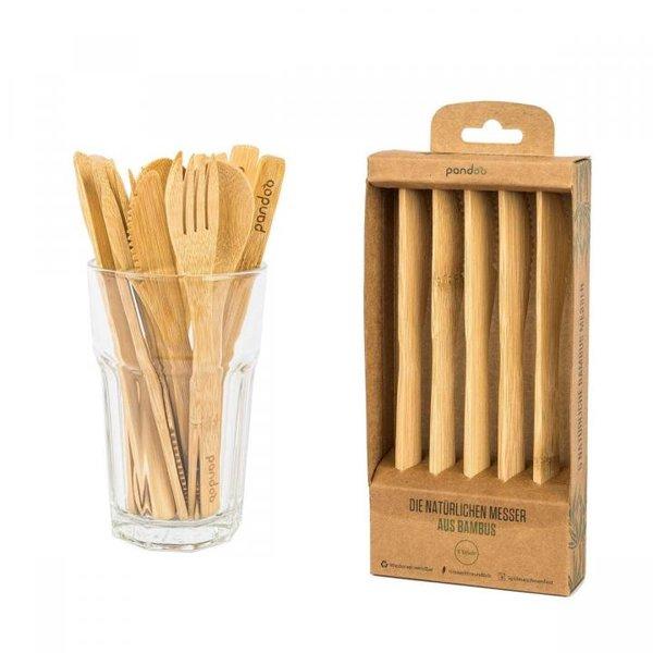 PANDOO - Wiederverwendbare Messer aus 100% natürlichem Bambus - 5er Set