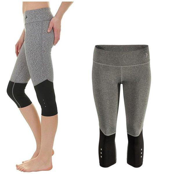Outhorn - QUICK DRY SLIM FIT PUSH UP - Sporthose - Damen Capri Laufhose - schwarz grau
