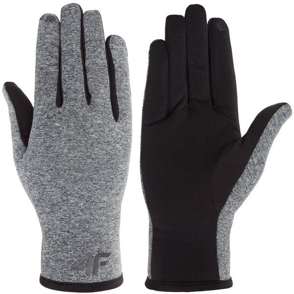 4F - leichte Thermo Sporthandschuhe - schwarz grau