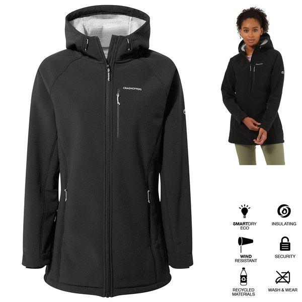 Craghoppers - wasserfeste, warme Softshell Stretch Jacke mit Kapuze - Ara - Damen - schwarz