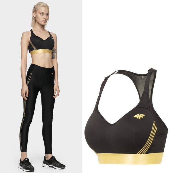 4F - Fitness Kurztop Sport BH- schwarz gold