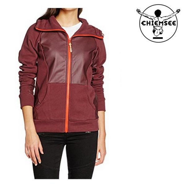 Chiemsee Damen Sweat Jacke Sportjacke - weinrot bordeaux - L 40