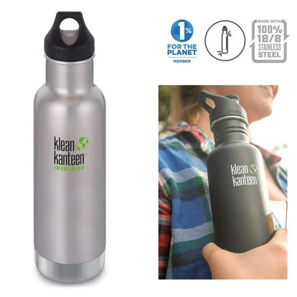 Klean Kanteen - Sport Classic Trinkflasche Brushed Stainless mit Loop Cap, 532ml