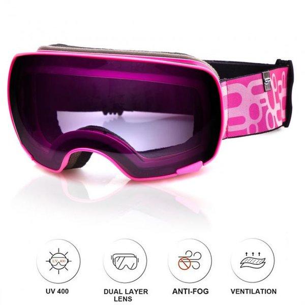 SPOKEY - YOHO Skibrille Snowboard Brille UV-Schutz Schneebrille - Anti-Fog - rosa