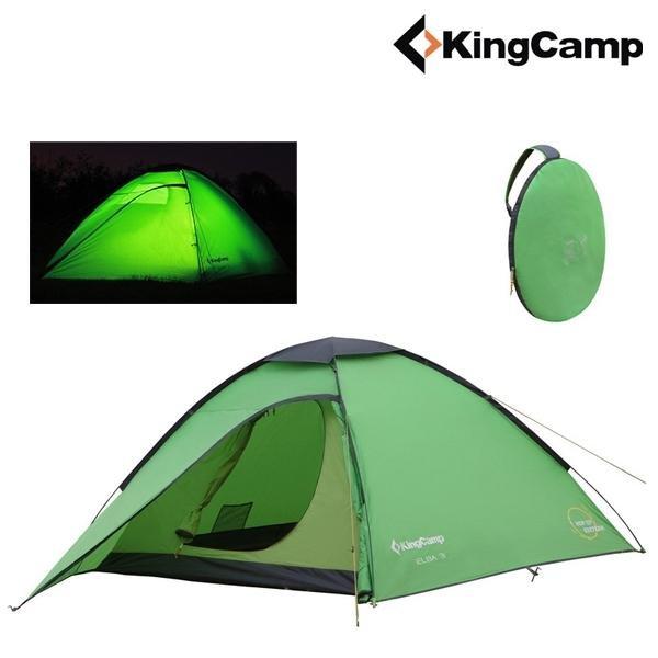 King Camp - POP-UP Kuppelzelt ELBA 3 - 100% wasserdicht 3.000 - 2-3 Personen Zelt - grün