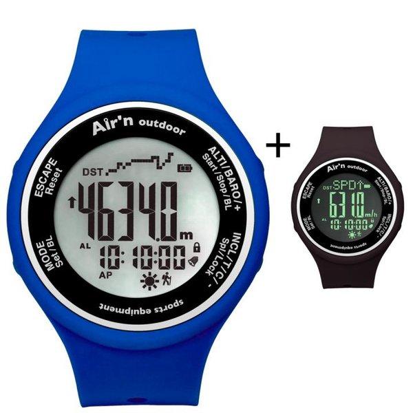 AIR`N - Outdoor Uhr Multifunktionsuhr wasserdicht - black - blu azzurro