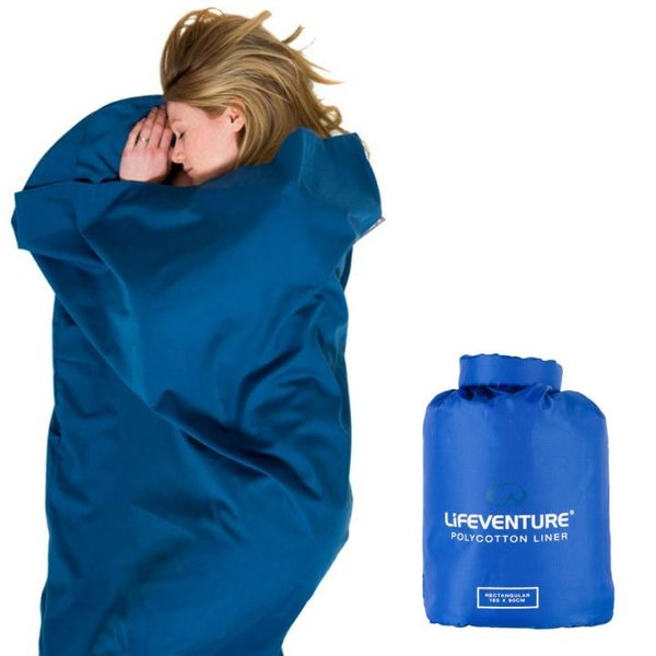 Liveventure - Poly Cotton Liner - antibakterieller Hüttenschlafsack - blau