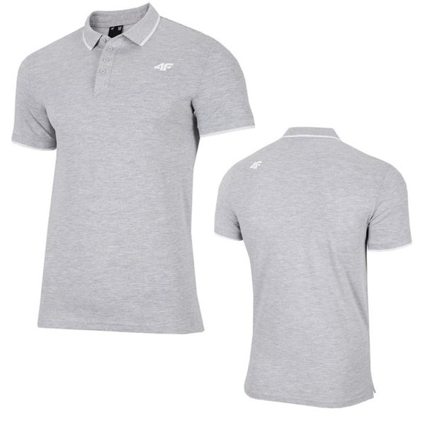 4F - Baumwoll Poloshirt - Herren Polo-Shirt - grau