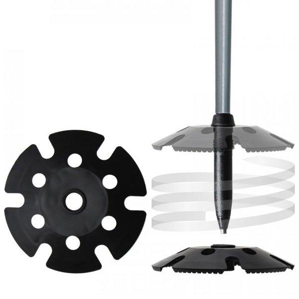 Lieferung mit Kunststoff Winterteller (110 mm Durchmesser, mit Zahnung). Durch das innovative Tellerwechselsystem können die Teller einfach durch Drehen ausgetauscht werden.