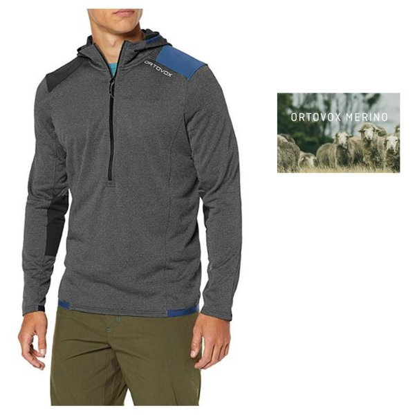 Ortovox Herren Fleece Light Grid Zn Hoody Outdoorzipper, grau