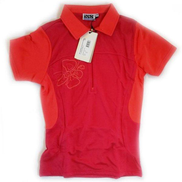IXS - Damen Sport- Fahrrad Poloshirt - 4way Stretch Sportshirt Caldas - rot