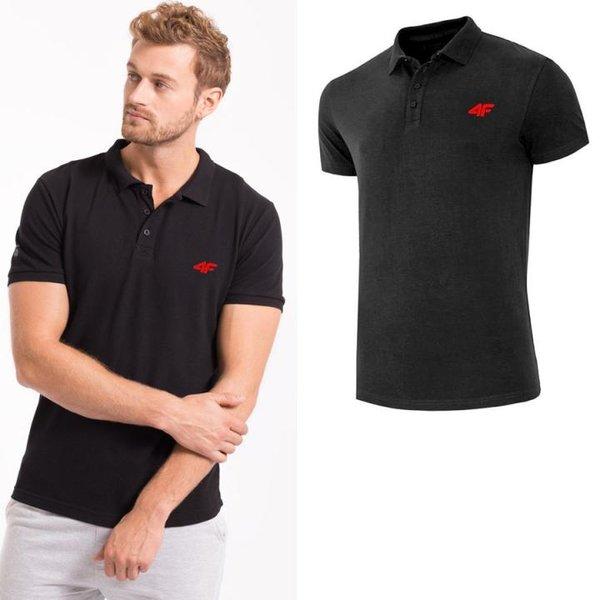 4F - Herren Poloshirt Baumwolle - schwarz