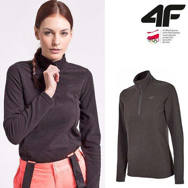 4F - Damen Fleece Langarmshirt - schwarz XS