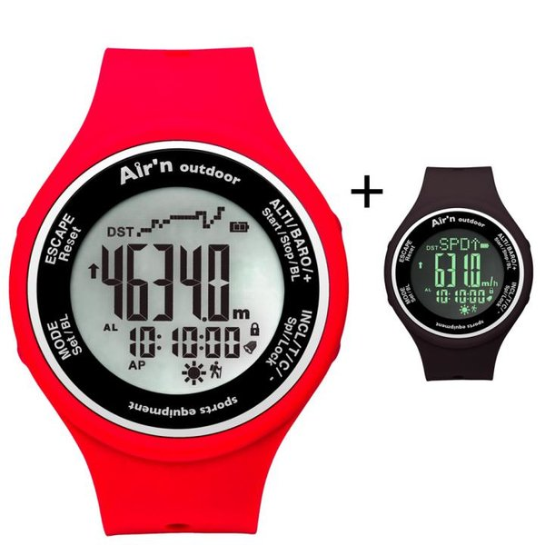 AIR`N - Outdoor Uhr Multifunktionsuhr wasserdicht - black - red orange