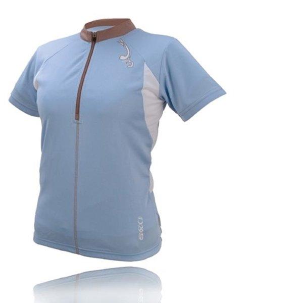 IXS - Damen Sport- Fahrrad Poloshirt - 4way Sportshirt Aurora - blau