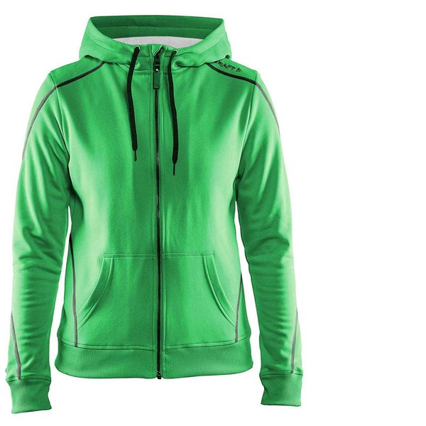 Craft Damen In-The-Zone Full Zip Hood W Hoodie - dicker Sportpullover - grün