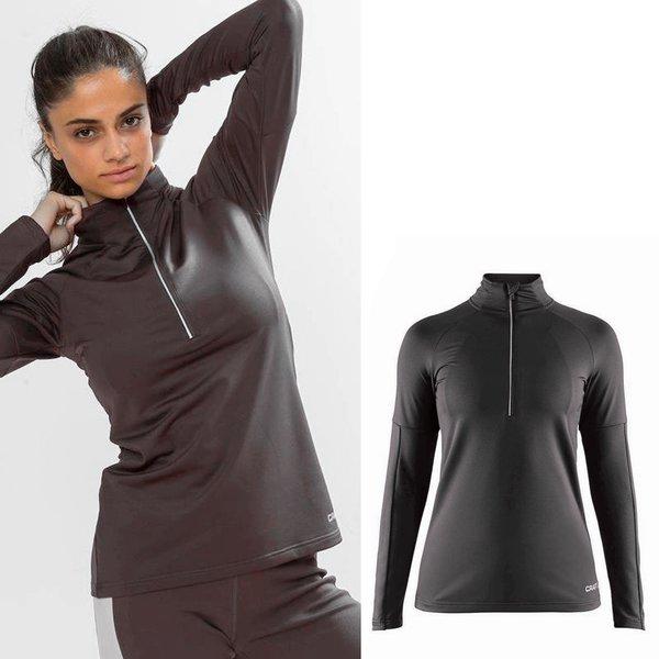 Craft - Damen Pin Halfzip W Skirolli - Funktions Longshirt - schwarz