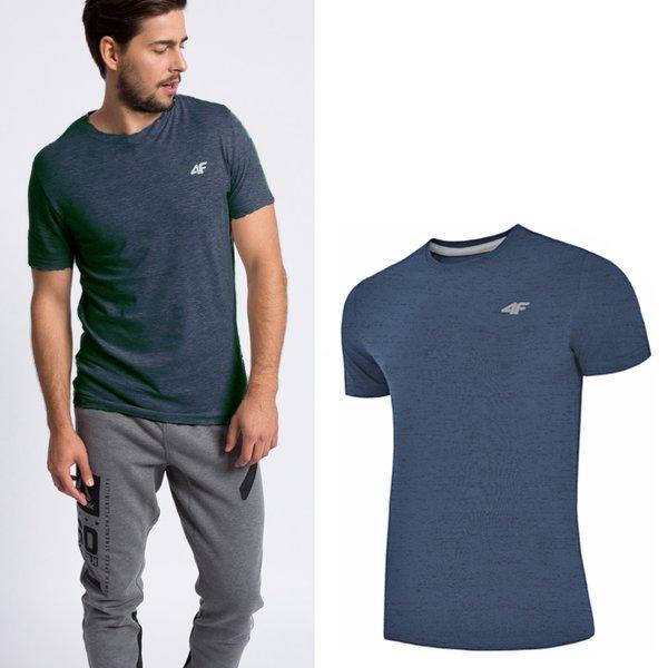 4F - Baumwollshirt - Herren T-Shirt - navy melange