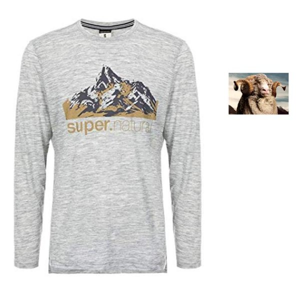 super.natural Herren Longshirt M Graphic 140 Merino T-Shirt - grau - M