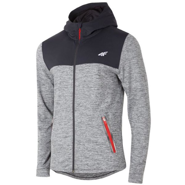 4F - Herren Sportjacke Fitness Hoodie 2019 - schwarz grau melange