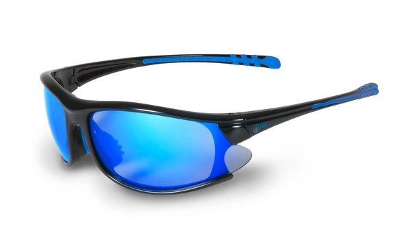 Nexi - S9 Sportbrille verspiegelt - Sonnenbrille - shiny black blue