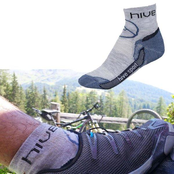 Hive - Bike Socken - Alpencross Fahrradsocken - blau melange