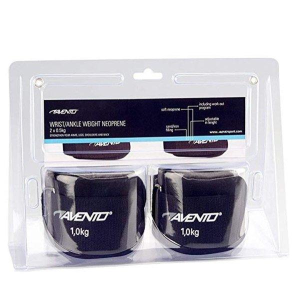 Avento Unisex 2 GK Neopren Handgelenk/Knöchel Gewicht, schwarz/grau, Einheitsgröße