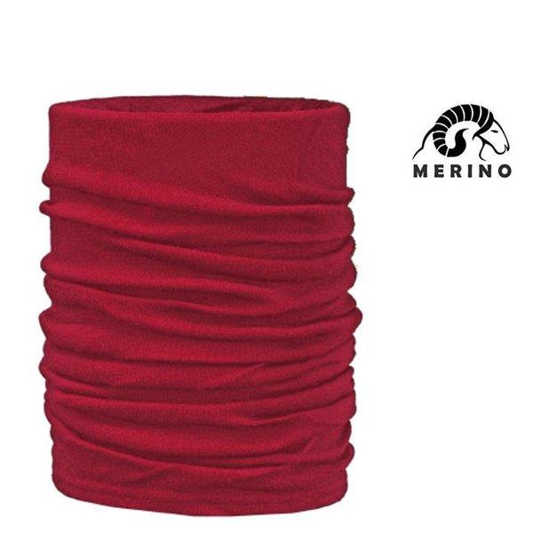 ARECO - MERINO Multifunktions-Halstuch Mütze Schal Neckwarmer - rot