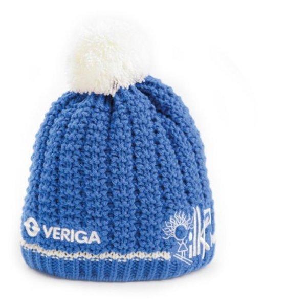 Veriga - KAPA - dicke Strickmütze mit Bommel - blau