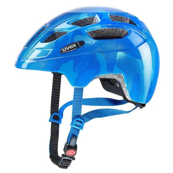 UVEX Fahrradhelm FINALE Kinderhelm mit LED, blau, 51-55 cm