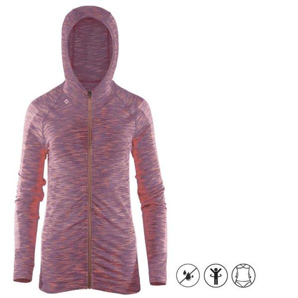 quick dry zip hoodie - Damen Sport Hoodie - Fitness Zipper - lila melange S/M