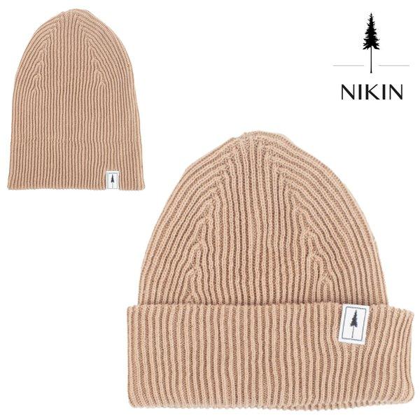 NIKIN - Folded Polylana® Ripped Strick Mütze, tan
