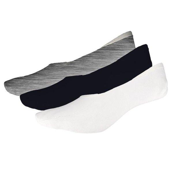 4F - 3er Pack Ballerinasocken - Damen Kurzsocken - schwarz/grau/weiß