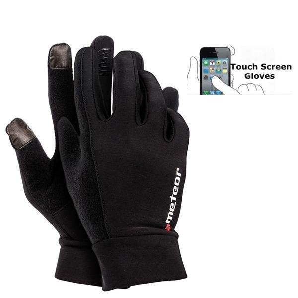 Meteor - Unisex Handschuhe- mit Antirutschoberfläche für Handybedienung - schwarz