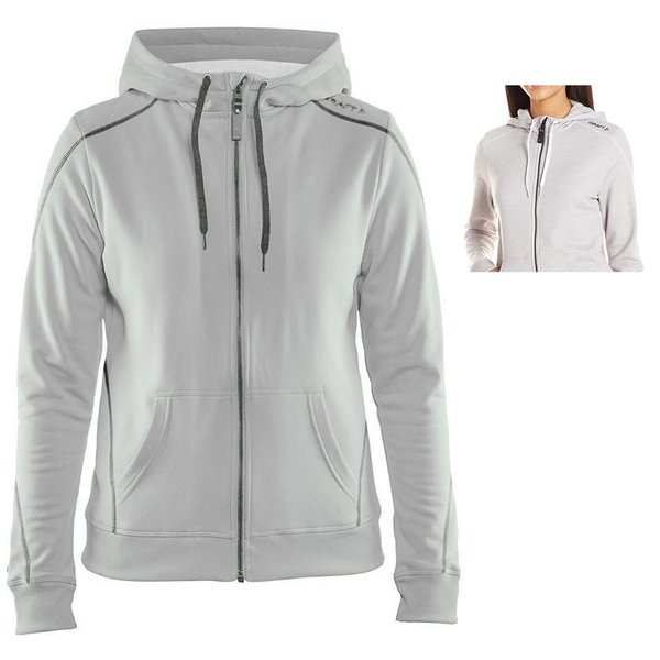 Craft Damen In-The-Zone Full Zip Hood W Hoodie - dicker Sportpullover - grau