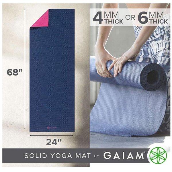Gaiam Yogamatte, einfarbig, für alle Arten von Yoga, Pilates und Bodenübungen, navy