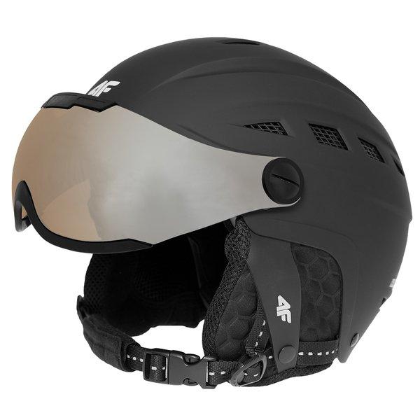 4F - Ski/Snowboardhelm 2018 - Marken CE Skihelm mit Brille - matt schwarz