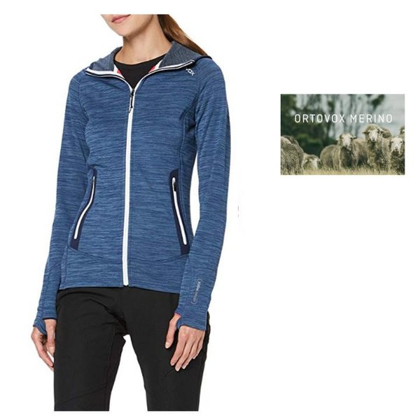 Ortovox Damen Merino Fleece Light Melange Hoody Outdoorjacke, blau