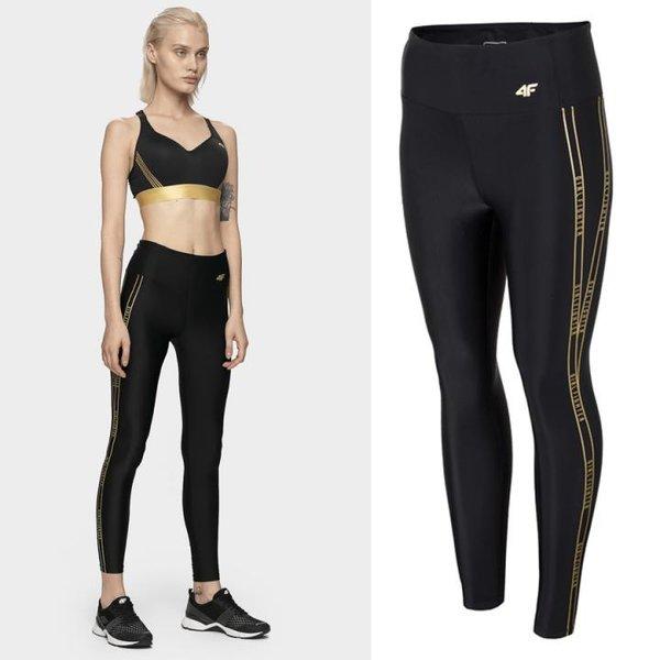 4F - GIRLFIGHTER - Damen Sport-Leggings - schwarz gold