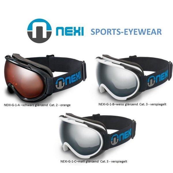NEXI - Skibrille Snowboard Brille Helmkompatibel Doppelscheiben - inkl. Etui und Tuch - schwarz