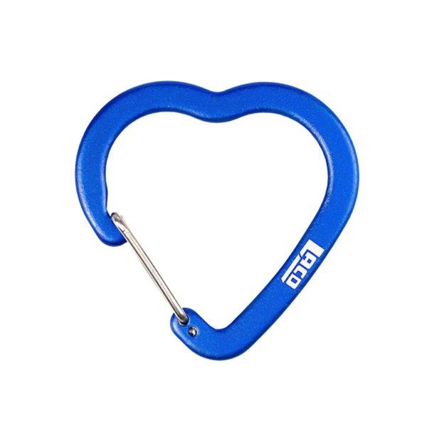 LACD - Zubehörkarabiner aus Aluminium - Herzform - Schnappverschluss - 40 mm, blau