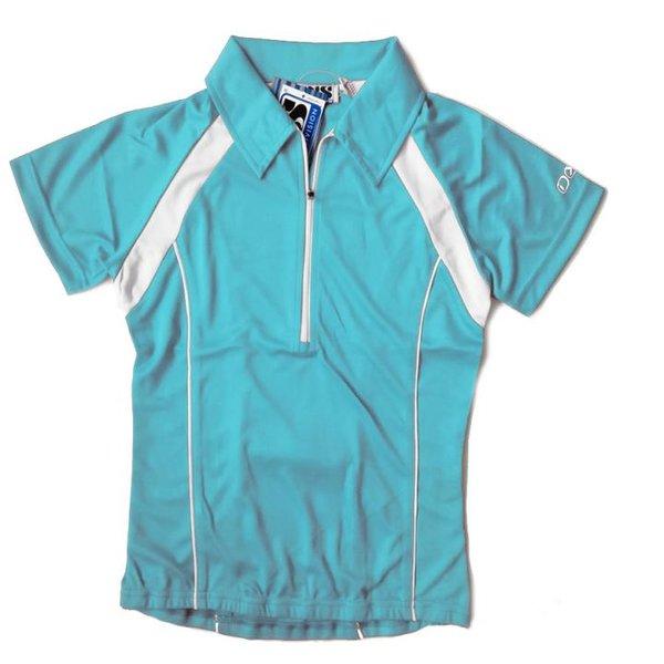IXS - Damen Sport- Fahrrad Poloshirt - 4way Stretch Sportshirt - blau