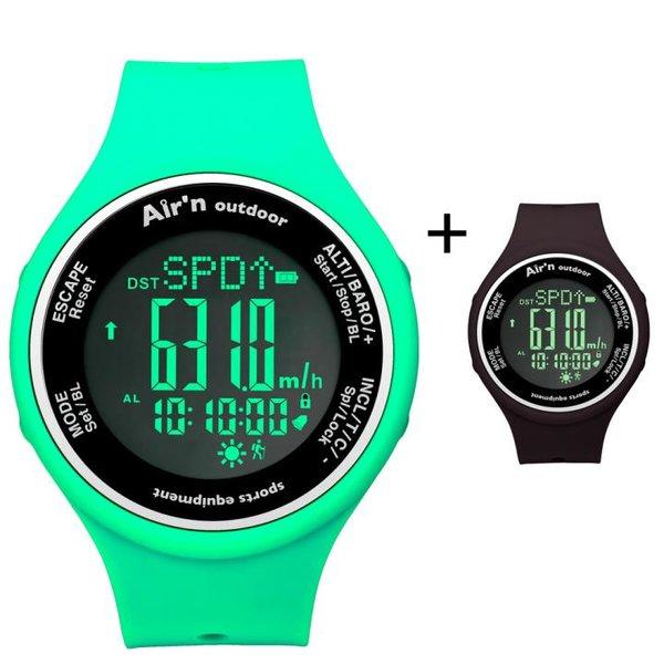 AIR`N - Outdoor Uhr Multifunktionsuhr wasserdicht - black - water green