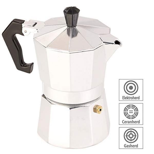 Relags Espresso Kocher für Gas, Elektro-Herd und Ceran-Feld (Espresso-Kanne) - für bis zu 3 Tassen