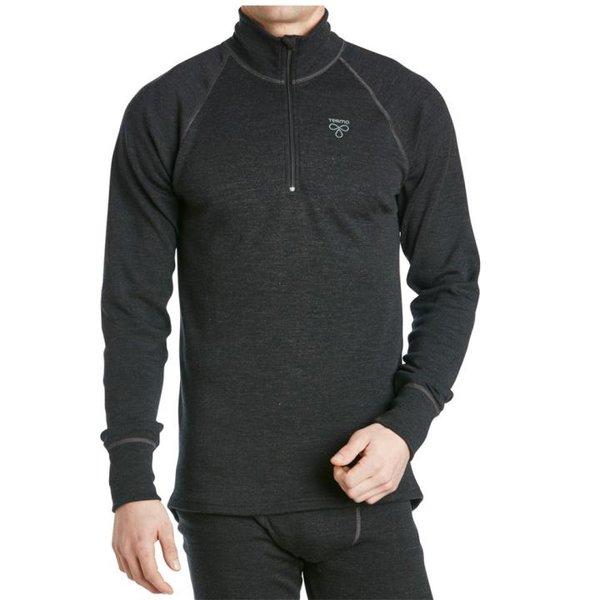 TERMO - Wool Light 2.0 - Turtle-neck with Zip - leichtes Merino Herren Zip Longshirt - grau